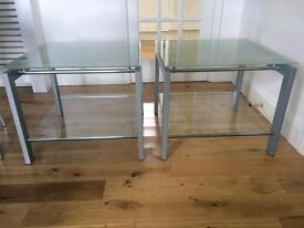 2 x occasional glass tables