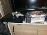 Ps2 console and games with one controller and steering wheel