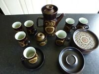 Denby Arabesque 1969-1970 Vintage Coffee set with plates For Sale