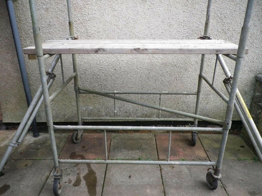 Two Galvanised Steel Scaffolding Towers with safety rails, feet, wheels,  boards and stabilisers  | in Cardiff | Gumtree
