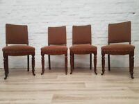 Four Victorian Upholstered & Sprung Dining Chairs (DELIVERY AVAILABLE)