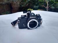 Nikon EM 35mm Film SLR camera and lenses