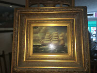Superb Victorian Oil on Canvas Old Sailing Ship in Stormy Seas – Weeb 1882