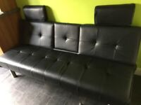 single faux leather sofa bed - ideal for guest room/ spare bed