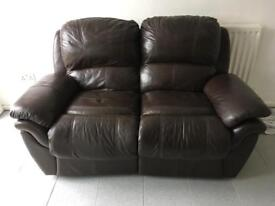 Leather 2 seater sofa / recliner