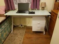 Computer Desk Table With Glass Top 2 Drawers Home Office
