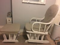 Nursing rocking chair and footstall white and grey £50 rrp £160