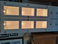 Painted oak display cabinet with lights