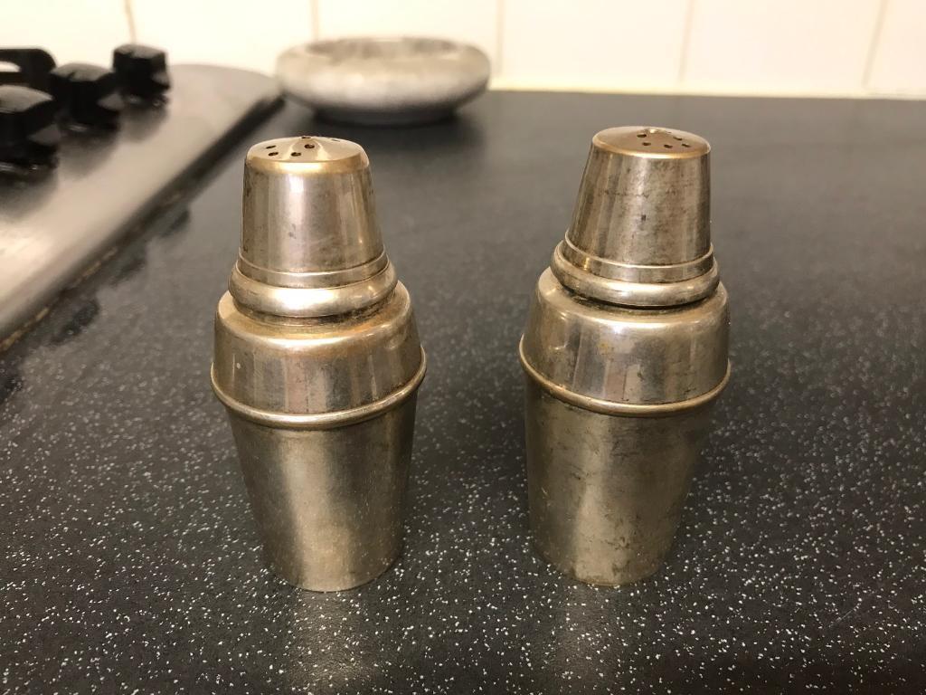 Old silver salt and pepper pots