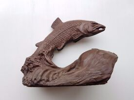Tom Mackie Leaping Salmon Sculpture - fishing gift men