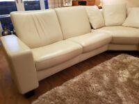 Ekornes Stressless Large Corner recliner Sofa settee Cream Leather