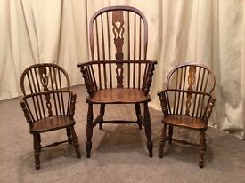 2 Antique Windsor Chairs - Child's / Miniature Carver - Dol /Teddy Bear Chair- UK Delivery Available