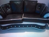 ITALIAN LEATHER BLACK AND WHITE SOFA AND CHAIR