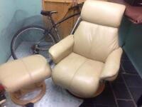 Cream leather single chair and stool