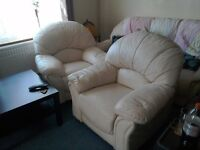 2 cream leather armchairs, used but in very good condition