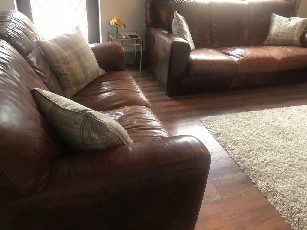 3 + 2 seat brown leather sofa | in Kingswood, Bristol | Gumtree