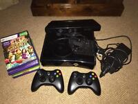 Xbox 360, Kinect, 2 controllers, head set, all cables, games.