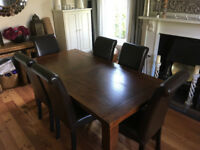 Solid wood dining table and 6 leather chairs