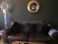 Leather 3 Seater, Chair& pouffe.