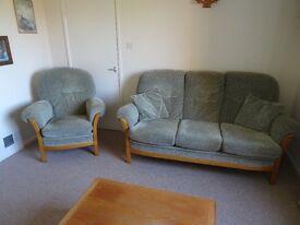 Parker Knoll teak 3 Piece Suite - 3 seater settee & 2 armchairs