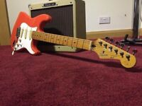Japanese Squier Hank Marvin Strat guitar (Fiesta Red)