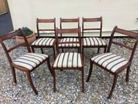 Set of 6 matching dark stained dining chairs