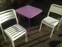 Garden table and 4 metal chairs
