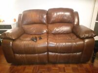 Lazyboy 2 seater Brown leather reclining sofa