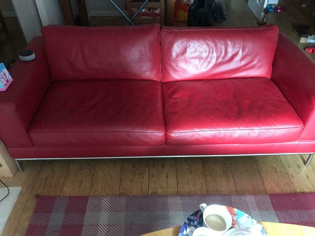 - Red Leather IKEA Sofa And Chair In Romsey, Hampshire Gumtree