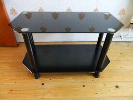 Stylish Modern TV Stand Dark Glass 27 inches / 69cms