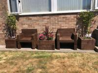 Garden set 2 chairs and 3 planters plants NOT included