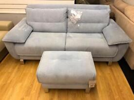 DFS Blue fabric Sofa Bed and Footstool