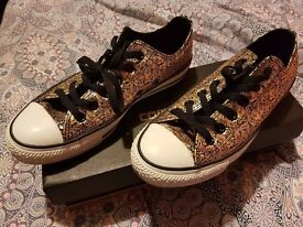 Converse All Star Low Black Metallic Gold Tiger Print Unisex Limited Edition UK 6