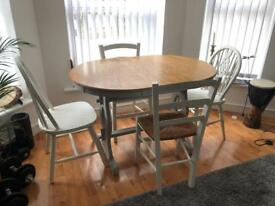 Vintage shabby chic country dining table and 4 chairs. Extender.