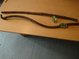 2x new vivarium wooden sticks for decoration - ex pet shop stock