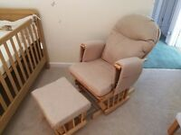 Habebe Glider Rocking Nursing Recliner Chair with Matching Footstool. Excellent Condition.