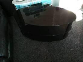 Black Glass TV cabinet 3 tier.