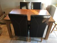 Oak furniture land faux leather oak dining chairs x4