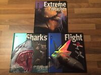 Insiders set of 3 hard back books on Flight, Sharks and Extreme Weather