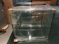 """24"""" CUBE AQUARIUM 10MM GLASS BRAND NEW WITH GLASS SLIDING COVERS AND BLACK SILICONE."""