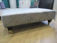 NEW Silver Velvet Footstool