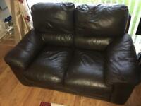 Brown chocolate leather suite for sale