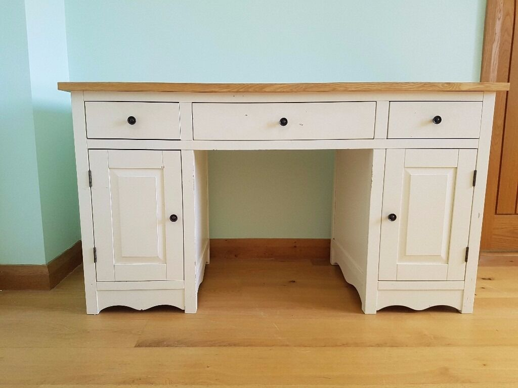 Natural Solid Oak And Cream Painted Computer Desk