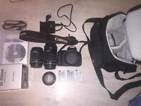 Canon 700d with 3 lens. 3 battery. 32and64 gb sd..