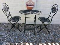 Wrought iron table & 2 chairs