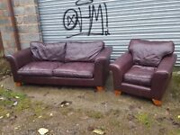 Cute used brown leather sofa suite. large 3 seater sofa and armchair.can deliver