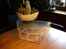 """Retro Metal frame wall mounted """"telephone"""" table with glass top"""