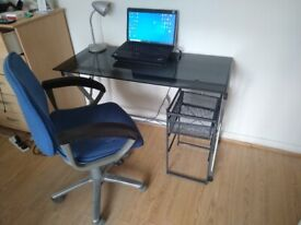 Office desk, office chair, lamp and storage item