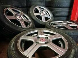 "Fox 15"" 4x108 alloy wheels + tyres Pegeout Citreon Ford"