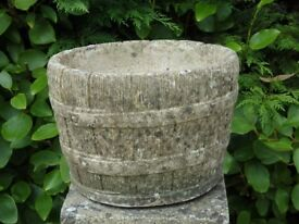 Vintage Barrel Cast Stone Garden Planter Nicely Weathered